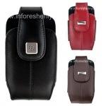 Оригинальный кожаный чехол с клипсой и металлической биркой Leather Holster with Swivel Belt Clip для BlackBerry