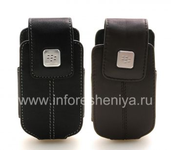 El caso de cuero original con un clip con una etiqueta de metal Funda giratoria de piel para BlackBerry tirón 8220 Pearl