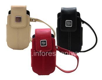 BlackBerry 8220 Pearl ফ্লিপ জন্য একটি ধাতু ট্যাগ চামড়া যোগ দিয়ে মূল চামড়া কেস ব্যাগ