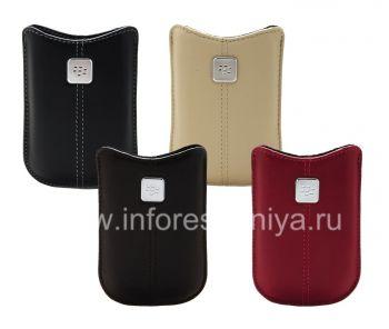 Kasus kulit asli dengan tag logam Kulit Pocket untuk BlackBerry 8220 Pearl Balik