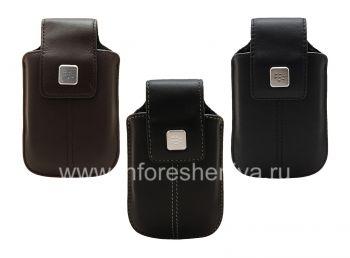 BlackBerry用クリップおよび金属タグレザースイベルホルスター付き本革ケース