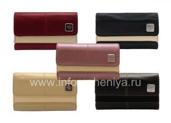 Оригинальный кожаный чехол-сумка с металлической биркой Leather Folio для BlackBerry