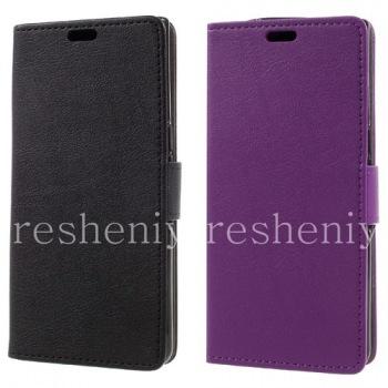 """Кожаный чехол горизонтально открывающийся """"Рельефный"""" для BlackBerry KEYone"""
