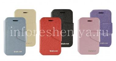 Купить Фирменный кожаный чехол горизонтально открывающийся Wallston Colorful Smart Case для BlackBerry Q5