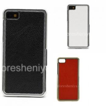 Пластиковый чехол-крышка с кожаной вставкой для BlackBerry Z10