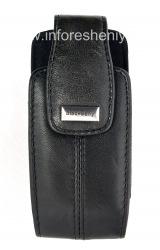 Das Original Ledertasche mit einem Clip und einem Metall-Tag Lammlederholster für Blackberry 8100/8110/8120 Pearl, Black (Schwarz)