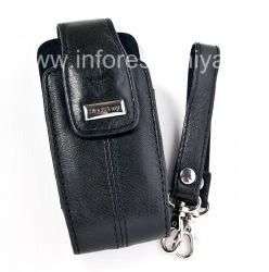 Оригинальный кожаный чехол с ремешком и металлической биркой Leather Tote для BlackBerry 8100/8110/8120 Pearl, Черный (Pitch Black)