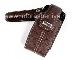"""Оригинальный кожаный чехол-сумка с металлической биркой """"BlackBerry"""" Embrossed Leather Tote для BlackBerry 8100/8110/8120 Pearl, Коричневый (Dark Brown)"""