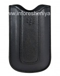 Asli Leather Case-saku Kulit Pocket untuk BlackBerry 8100 / 8110/8120 Pearl, Black (hitam)