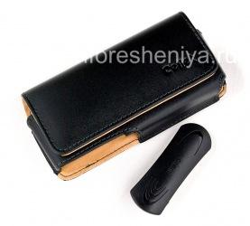 Фирменный кожаный чехол-сумка с клипсой Cellet Noble Case для BlackBerry 8100/8110/8120 Pearl, Черный/ Коричневый