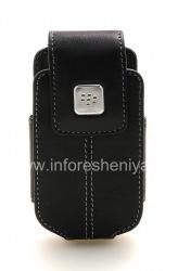 Оригинальный кожаный чехол с клипсой с металлической биркой Leather Swivel Holster для BlackBerry 8220 Pearl Flip, Черный (Black)