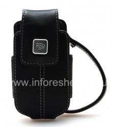Оригинальный кожаный чехол-сумка с металлической биркой Leather Tote для BlackBerry 8220 Pearl Flip, Черный (Black)