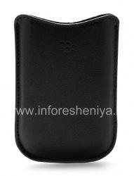 Оригинальный кожаный чехол-карман Synthetic Leather Pocket BlackBerry 8220 Pearl Flip, Черный (Black)