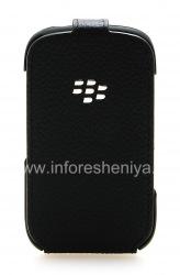 Оригинальный кожаный чехол с вертикально открывающейся крышкой Leather Flip Shell для BlackBerry 9320/9220 Curve, Черный (Black)