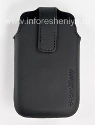 Оригинальный кожаный чехол с клипсой Leather Swivel Holster для BlackBerry 9360/9370 Curve, Черный (Black)