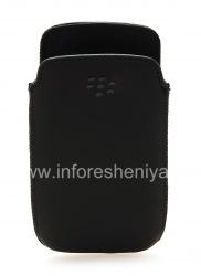 Оригинальный кожаный чехол-карман Leather Pocket Pouch для BlackBerry 9360/9370 Curve, Черный (Black)