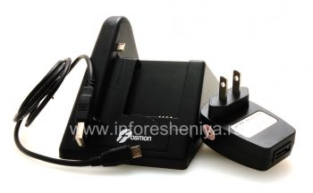 Proprietary docking station for charging the phone and battery Fosmon Desktop USB Cradle for BlackBerry 9360/9370 Curve