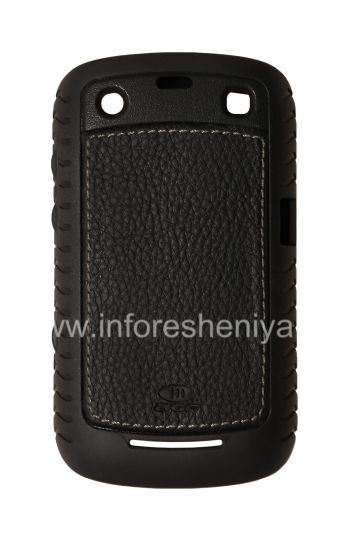 Silicone Corporate kokuvalelwa lesikhumba ufaka AGF Black Leather Inlay nge TPU Case for BlackBerry 9360 / 9370 Curve