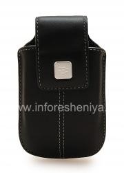 Das Original Ledertasche mit einem Clip und einem Metall-Tag Leather Swivel Holster für Blackberry, Black (Schwarz)