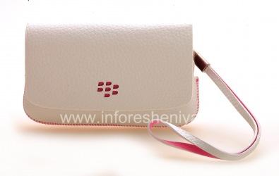 Оригинальный кожаный чехол-сумка Leather Folio для BlackBerry 9800/9810 Torch, Белый/Розовый (White w/Pink Accents)
