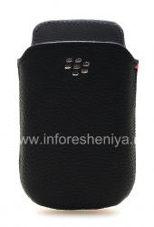Оригинальный кожаный чехол-карман с металлическим логотипом Leather Pocket для BlackBerry 9800/9810 Torch, Черный (Black)