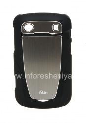 Фирменный пластиковый чехол-крышка с металлической вставкой iSkin Aura для BlackBerry 9900/9930 Bold Touch, Черный (Black)