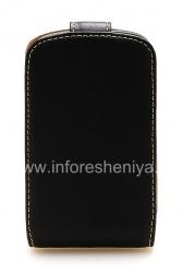 Эксклюзивный кожаный чехол вертикально открывающийся Pro-Tec Leather Black Case для BlackBerry 9900/9930 Bold Touch, Черный/ Коричневый