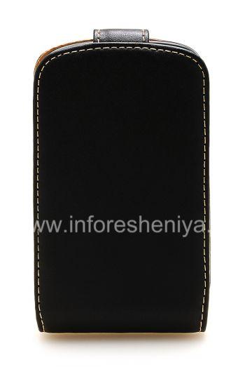 حالة الجلد حصرية تفتح عموديا برو-تك جلد حالة الأسود لبلاك بيري 9900/9930 Bold تاتش