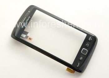 Тач-скрин (Touchscreen) в сборке с передней панелью для BlackBerry 9850/9860 Torch, Черный