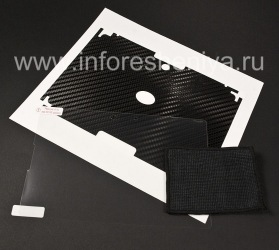 """Фирменный набор защитных пленок для экрана и корпуса BodyGuardz Armor для BlackBerry PlayBook, Черный, текстура """"Carbon Fiber"""""""