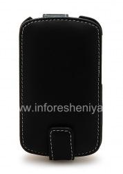 Фирменный кожаный чехол ручной работы Monaco Flip/Book Type Leather Case для BlackBerry Q10, Черный (Black), Вертикально открывающийся (Flip)