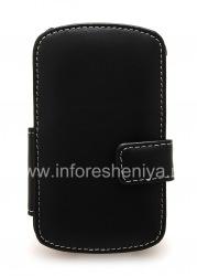Фирменный кожаный чехол ручной работы Monaco Flip/Book Type Leather Case для BlackBerry Q10, Черный (Black), Горизонтально открывающийся (Book)