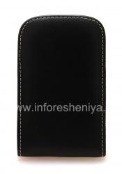 Фирменный кожаный чехол-карман ручной работы с зажимом Monaco Vertical/Horisontal Pouch Type Leather Case для BlackBerry Q10/ 9983, Черный (Black), Вертикальный (Vertical)