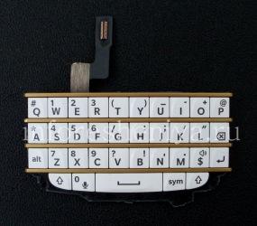 Эксклюзивная английская клавиатура в сборке с платой для BlackBerry Q10, Белая с золотыми разделителями (White/ wGold)