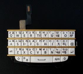 Эксклюзивная золотая русская клавиатура в сборке с платой для BlackBerry Q10 (гравировка), Белый с золотыми разделителями (White/ wGold)