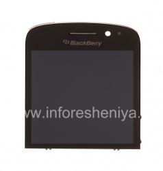 Экран LCD + тач-скрин (Touchscreen) в сборке для BlackBerry Q10, Черный, тип 001/111