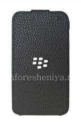 Оригинальный кожаный чехол с вертикально открывающейся крышкой Leather Flip Shell для BlackBerry Q5, Черный (Black)