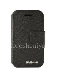 Фирменный кожаный чехол горизонтально открывающийся Wallston Colorful Smart Case для BlackBerry Q5, Черный