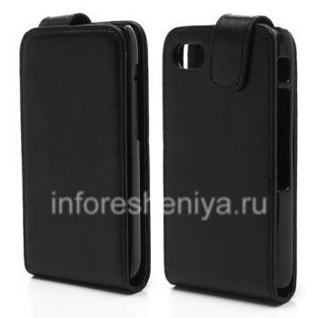 Leather case cover with vertical opening for BlackBerry Q5