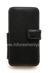 Фирменный кожаный чехол ручной работы Monaco Flip/Book Type Leather Case для BlackBerry Z10, Черный (Black), Горизонтально открывающийся (Book)