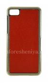 Фотография 1 — Пластиковый чехол-крышка с кожаной вставкой для BlackBerry Z10, Красный