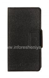 Кожаный чехол горизонтально открывающийся с функцией подставки для BlackBerry Z10, Черный