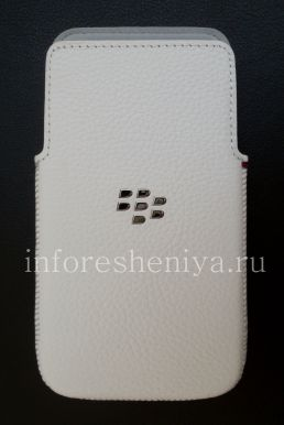 Оригинальный чехол-карман Leather Pocket для BlackBerry Z30, Белый (White)