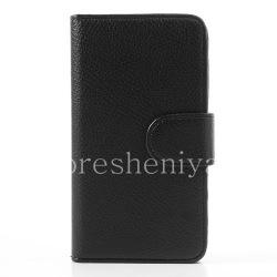 """Кожаный чехол горизонтально открывающийся """"Классический"""" для BlackBerry Z30, Черный, внутренняя часть Коричневая"""