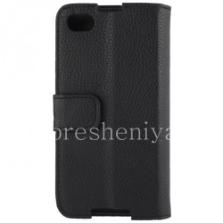 Кожаный чехол горизонтально открывающийся с функцией подставки для BlackBerry Z30, Черный
