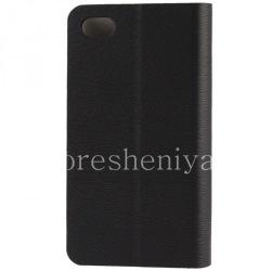 """Кожаный чехол горизонтально открывающийся """"Wooden"""" для BlackBerry Z30, Черный"""