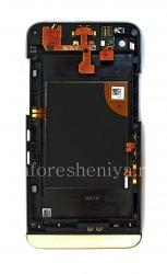 Средняя часть оригинального корпуса в сборке с ободком для BlackBerry Z30, Серебряный/Черный