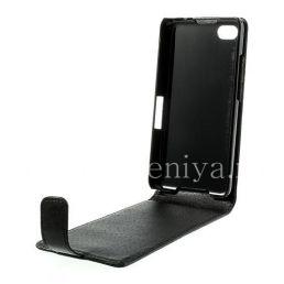 Кожаный чехол с вертикально открывающейся крышкой для BlackBerry Z30, Черный, Мелкая текстура