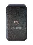 Оригинальный кожаный чехол-карман с металлическим логотипом Leather Pocket для BlackBerry Classic, Черный (Black)