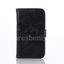 Кожаный чехол горизонтально открывающийся с функцией подставки для BlackBerry Classic, Черный